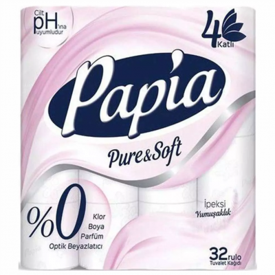Papia Pure&Soft Tuvalet Kağıdı 4 Katlı 32'Li