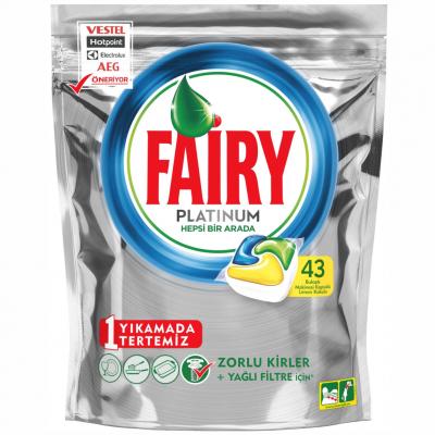 Fairy Platinum Bulaşık Makinesi Deterjanı Kapsülü Hepsi Bir Arada Limon Kokulu 43'Lü